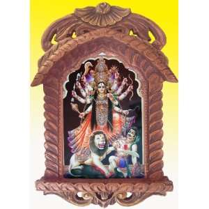 Godess Maa Kali Killing Bharva Poster Painting in Wood