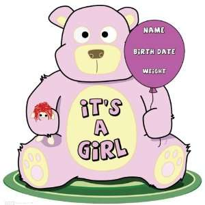 Its A Girl! Teddy Bear Cardboard Cut Out: Everything