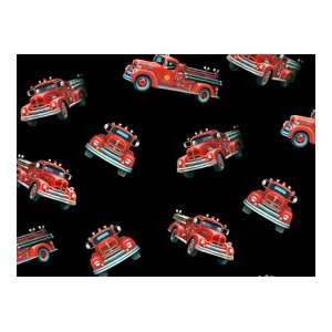 Local Heroes Firefighters Fire Engines Black Quilt Cotton Fabric By