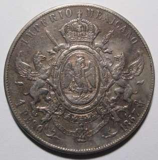 1867 MO 1 Peso Mexico Maximilliano Coin EF AU