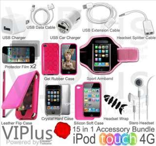15in1 Accessory Bundle Kit for Apple iPod Touch 4th Gen Leather Case