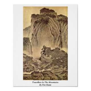 Travellers In The Mountains By Fan Kuan Print from Zazzle
