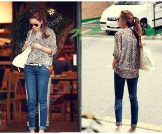 New Womens 3/4 Sleeve Casual Leopard Print Shirt Tops Botton Down