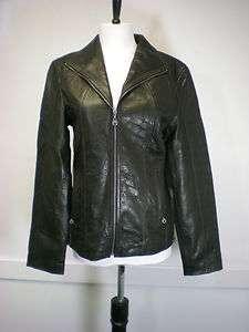 New Marc Nee York Andrew Marc Womens Leather Jacket Black Lambskin