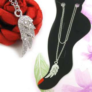 FEATHER ANGEL WING RHINESTONE ANKLE ANKLET BRACELET A8