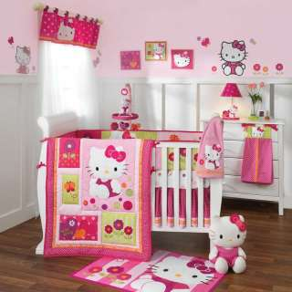 Lambs & Ivy 7 Piece Crib Bedding Set Hello Kitty Garden Includes