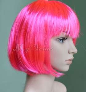Straight Bob Style Wig Hot Pink Cosplay Party Synthetic Hair Wigs