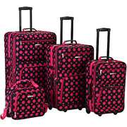 Piece Luggage Set, Black Pink Dot 4 Piece Luggage Set, Black Pink Dot