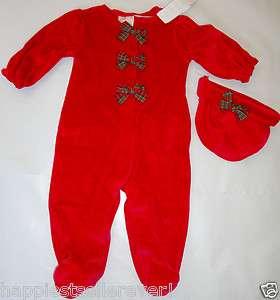 Christmas Holiday 2 Piece Babies R Us Miniwear Sleep n Play Bows Hat