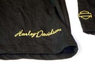 New Granite Mountain Harley Davidson Black Shirt Gold Embroidery LARGE