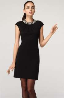 Milly Rhinestone Collar Wool Jersey Dress