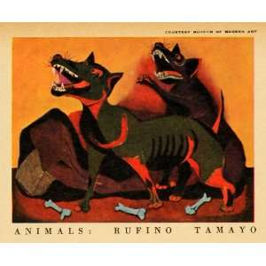 1943 Print Rufino Tamayo War Animal Dog Bone Wartime