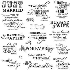 Fiskars Scrapbook Arts & Crafts Clear Stamps Sayings Just Married