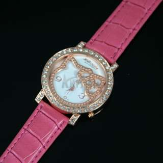HelloKitty Lady Crystal Rose gold Quartz Jewelry Wrist watch peach