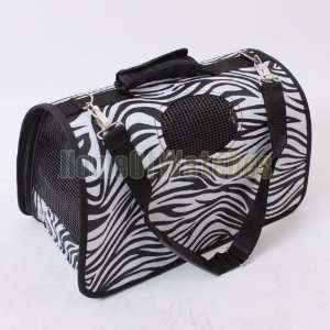 Zebra Pet Dog Cat Travel Carrier Hard Base PORTABLE Pet Carrier Bag