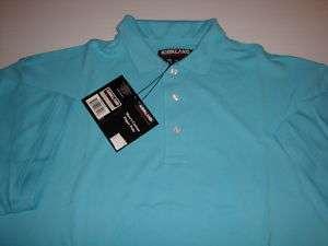 Kirkland Signature Blue Polo Shirt Cotton Pique XXL NEW