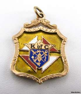 KNIGHTS of COLUMBUS fraternal FOB   10k Yellow Gold Enameled Vintage