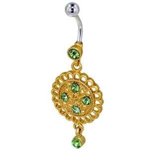 Gold Green Crystal Metalwork Flower Birthstones Belly Navel Ring Body