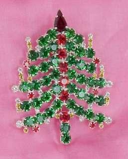 SWAROVSKI MULTI COLOR CRYSTAL CHRISTMAS TREE CANDLE PIN BROOCH LARGE