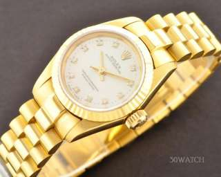 LADIES ROLEX OYSTER PERPETUAL 18K GOLD DIAMOND WATCH