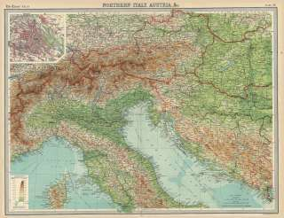 Large Antique Map of AUSTRIA, Northern ITALY & BALKANS