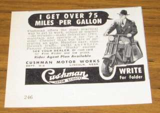 1950 VINTAGE AD~CUSHMAN MOTOR SCOOTERS~HUSKY ENGINES