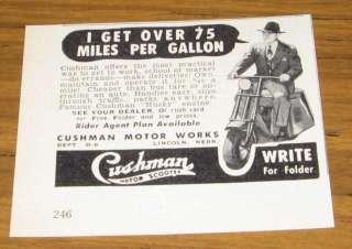 1950 VINTAGE AD~CUSHMAN MOTOR SCOOTERS~HUSKY ENGINES