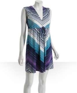 JB by Julie Brown teal diagonal zig zag jersey Josie v neck dress