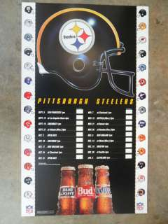 NFL Football Poster Schedule 1993 Pittsburgh Steelers
