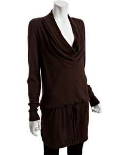 MICHAEL Michael Kors chocolate cotton cowl neck tunic sweater