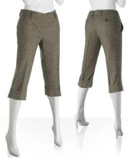 Robert Rodriguez brown tweed wool blend cropped pants   up to