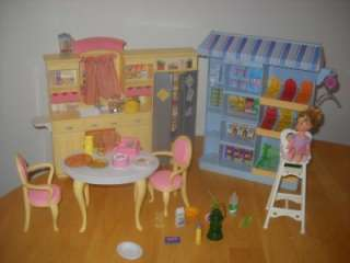 Barbie Play all Day Kitchen Table & Chairs Happy Family Supermarket