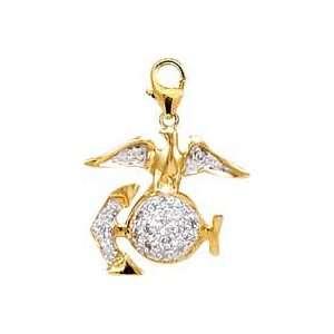 MarineS Logo, 14K Yellow Gold Diamond Charm Jewelry