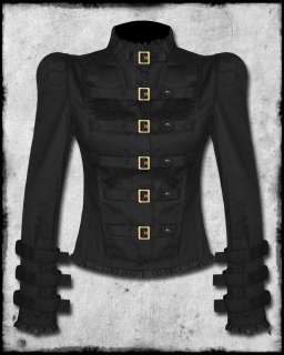 BLACK COPPER STEAMPUNK GOTH VICTORIAN MILITARY JACKET