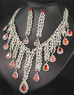 Bridesmaids Diamante Red Crystals Necklace Earrings Set Prom 256
