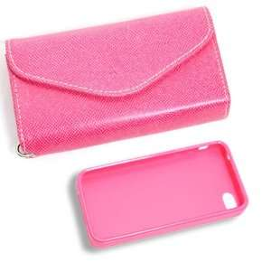 Product] Violet Red Wallet Card Faux Leather Flip Case+Pink Plastic
