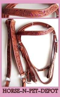 16DARK OIL tan Western SHOW horse SADDLE free Tack headstall breast