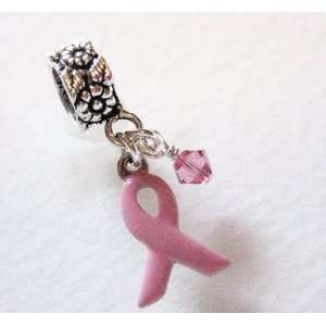 Breast Cancer Ribbon, Small, Sterling Silver, Enamel, Pink