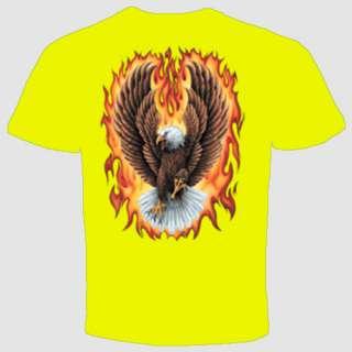 USA T shirt Eagle Flames Harley Davidson Biker Screaming Military
