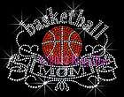 Banner Scrollwork   Basketball Mom   Rhinestone Iron on Transfer Hot