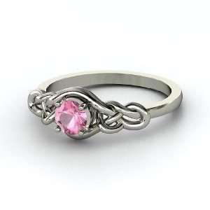Sailors Knot Ring, Round Pink Tourmaline Platinum Ring Jewelry