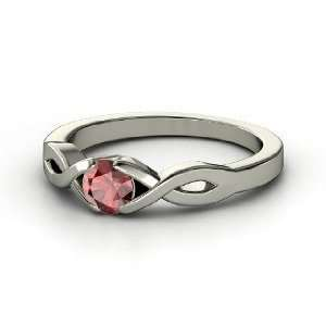Cross My Heart Ring, Round Red Garnet 14K White Gold Ring Jewelry